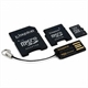 Memory Card KINGSTON micro-SD 8Gb com adaptador SD e mini SD + leitor USB